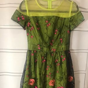 Dresses & Skirts - Green embroidered dress